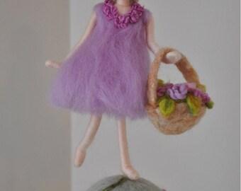 Nursery Ornament Needle Felted wool : Girl with basket