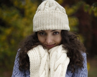 Beanie   Set knitted hat and scarf   Cable Knit hat and Scarf   Hand Knit Cable Cowl and hat    Wool Neck Warmer   Knit Fashion Accessory
