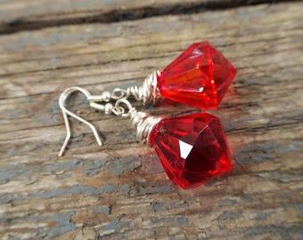 Red earrings, gift for her, dangle earrings, red jewelry, boho earrings, red, girlfriend gift, statement earrings, bright earrings