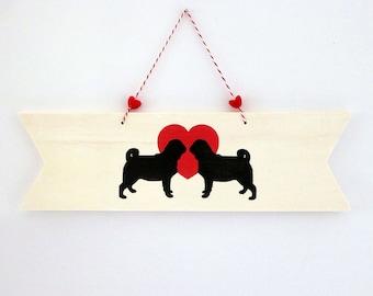 Pug Wood Sign, Pug Gift, Dog Wall Décor, Small Sign, Pug Lover Gift