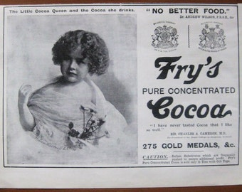 Frys, 1899, vintage, ad, original, cocoa, chocolate drink, English, Queen, drink, decoration, kitchen, free shipping, paper, ephemera
