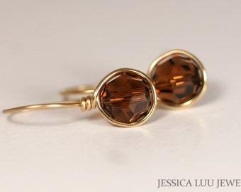 Gold Brown Swarovski Crystal Earrings Wire Wrapped Jewelry Rose Gold Earrings Swarovski Crystal Jewelry Brown Earrings Rose Gold Jewelry