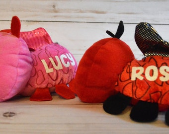 Personalized Valentine Love Bug Plush, Kid's Valentines Day Gift, Custom Valentine