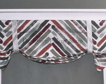 Valance - Kitchen Valance - Roman Valance - Chevron -  Fixed Tie Up Valance - Bathroom Valance - White, Scarlet, Rust, Gray, Roman Shade
