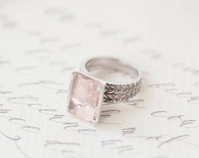 Mirror morganite ring - double  band - 9ct - white gold - rapunzel ring - gold band - gold jewellery - cocktail ring