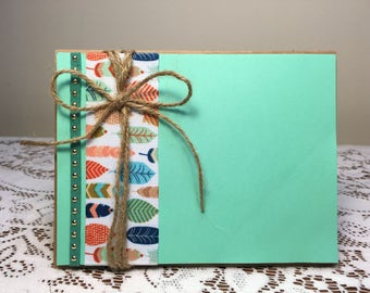 Green Feathers and Jute Card