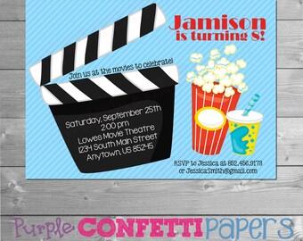 Movie Birthday Invitation, Movie Invitation, Movie Invite, Movie Party, Movie Theme, Birthday at the Movies, Movie Theatre Party, Printable
