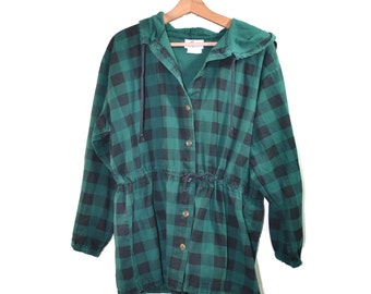 Vintage Plaid Jacket Camp Jacket Green Black Checkered Jacket 80s Plaid Jacket Byer of California