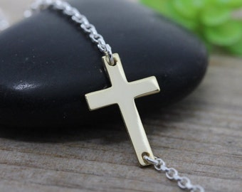 Sideways Cross necklace. Two tones Necklace, Sterling Silver Cross Gold Filled chain, Horizontal Cross, Most popular Graduation gift.