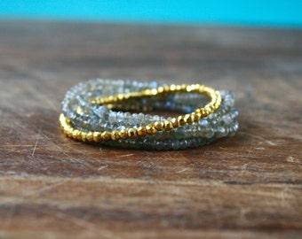 Labradorite Beaded Wrap Bracelet Genuine Gemstone Yoga Inspired Sparkly Faceted Delicate Crystal Spiritual Jewelry Grey Gold Wrap Bracelet