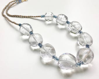 Glass Bubble Necklace // Ice Necklace // Large Glass Beads // Large Bead Necklace // Big Bead Necklace // Statement Necklace // Lampwork