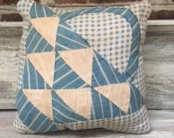 Vintage Quilt Pillow With Quilt Backing- Can Be Used On Either Side