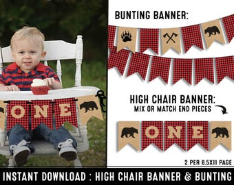 Lumberjack highchair banner - first birthday highchair banner -  I am one banner - free bunting - printable instant download
