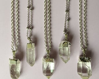 Silver Quartz Tipped Necklace - Sterling Silver, Electroplate, Satellite Chain, Thick Chain