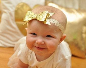 Gold Glitter Bow, Baby Headband, Gold Headband, Newborn Headbands, Sparkle Headbands, Gold Bow, Gold Holiday Headband, Gold Headbands