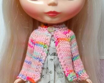 BLYTHE doll hand knit wool cardigan sweater - pink rainbow