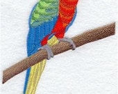 Harlequin Macaw Embroidered Towel | Flour Sack Towel | Linen Towel | Dish Towel | Kitchen Towel | Hand Towel | Parrot Decor