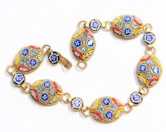Micro Mosaic Flowers Italian Glass Link Vintage Bracelet (c1930s)  FREE SHIPPING