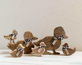 Wood Ducks, Family of Four Rustic Barnwood Ducks - Personalized