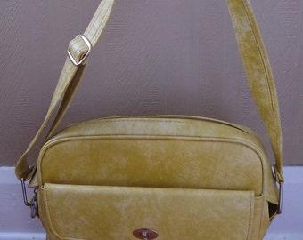 Vintage Samsonite Silhoutte Travel Bag Mottled Yellow Vinyl Overnight Bag Carry On