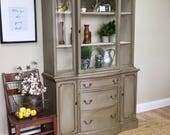 Vintage China Cabinet - Distressed Furniture - Antique China Cabinet - Foyer Furniture - Tall Bar Cabinet - Hutch Cabinet - Dining Cabinet