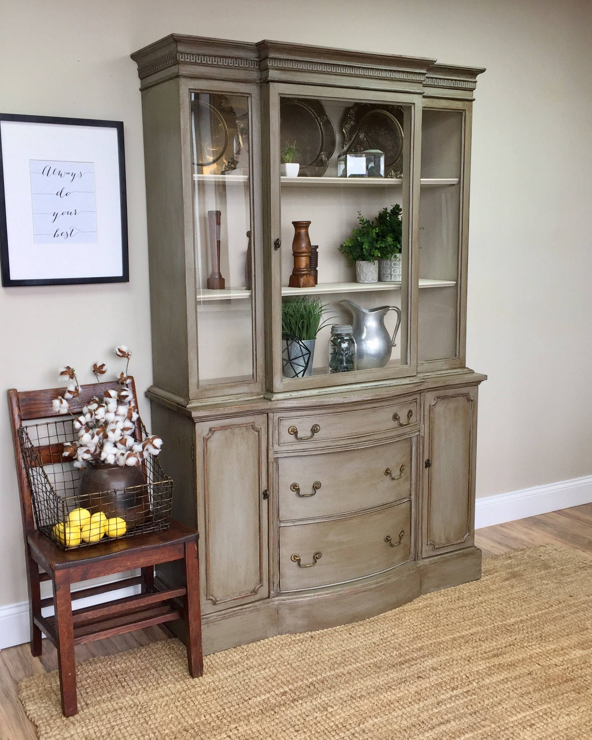 Painted Foyer Cabinets : Vintage china cabinet distressed furniture antique