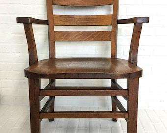Antique Oak Mission Chair Library Banker Lawyer Juror Arts & Crafts Vintage Office Chair Quartersawn