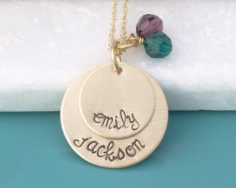 Two Kids Names Birthstone Mother's Necklace - Custom 14k Gold Fill Mom Personalized Necklace - Stacked Gold Pendant w/ Names - gift for mom