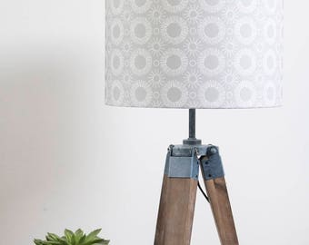 Mid century Flower print lampshade white on grey