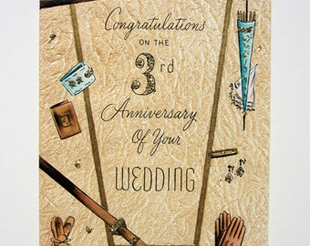 Vintage 3rd Wedding Anniversary Card Features Textured Embossed Leather Look and Gold Glitter Embellishments Congratulations to a Couple