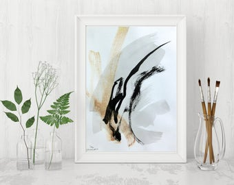 Original Abstract Painting Black and White Art Abstract Art Black and White Painting Black Gold Art Black Wall Art Minimalist Art Modern Art