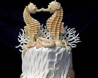 Seahorse wedding cake topper made of white chocolate