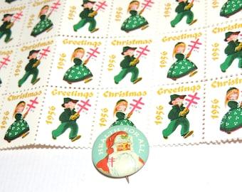 1956 Tuberculosis Christmas pin and sheet of 100 stamps
