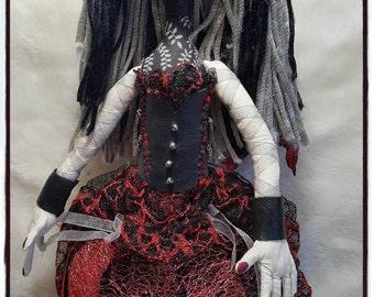 Cloth Doll - Cloth Art Doll - Vampire Doll -  Art Doll - Halloween Doll - Fiber Art Doll - Fabric Art Doll - Fabric Doll - Soft Doll