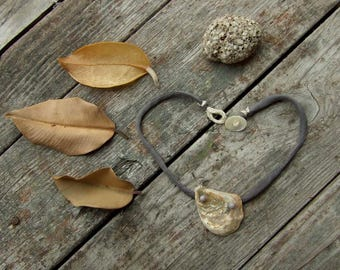 Silk choker necklace, Seashell and glass, Boho style choker, Beige Gray, Large pendant, Nature, Eco friendly, Upcycled recycled repurposed