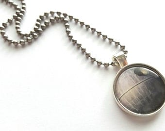 Star Wars Death Star Silver Tray Necklace with Stainless Steel Ball Chain - movies