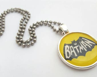 Batmam Tray Pendant - Necklace with Stainless Steel Ball Chain - vintage style superhero