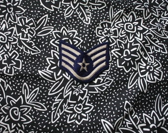 Vintage Military Star Embroidered Patch. Retro Silver And Navy Blue Military Collectible Wing Shape Patch. Army Air Force Navy Marines Patch