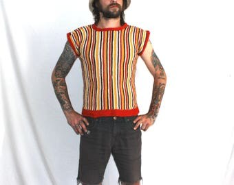 Retro Mod Funky Multi Colored Short Sleeve Striped Sweater Shirt. Rusty Rainbow 70s Psychedelic Striped Pattern.  Womens Mod Sweater Shirt