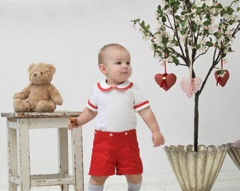 Baby boy romper Baby overalls Natural linen romper Peter Pan collar overall 1st birthday outfit Vintage inspired romper Baby shower gift