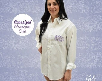 Oversized Monogrammed Button Down Shirt, Wedding Day Shirt, Embroidered Pocket Monogram, Oversize Shirt, Monogram Shirt, Swimsuit Cover up,