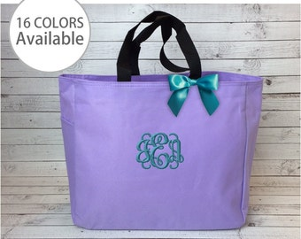 15 Monogrammed Tote Bags, Embroidered Tote Bag, Personalized Bridesmaid Gift, Essential tote bag