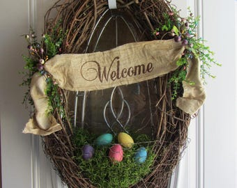 Country Easter Wreath - Easter Wreath - Easter Decor - Shabby Chic Wreath - Rustic  Wreath - Spring Wreath - Welcome Door wreath