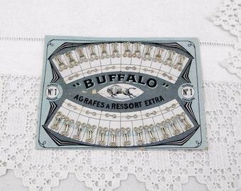 "Antique Unused Complete Card of 24 Metal Butterfly Hooks / Spring Hook and Eyes ""Buffalo"", Craft Supply, Vintage Haberdashery, Ephemera,"