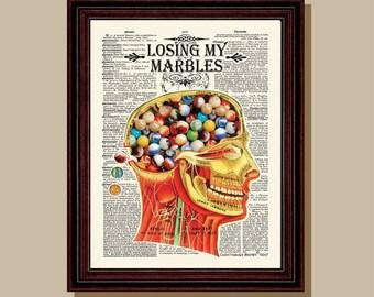 "Fine Art Print - ""Losing My Marbles "" 8.5"" x 11"", Vintage Anatomy Medical print, Neurologist Gift, Neurosurgeon gift, Psychologist gift"