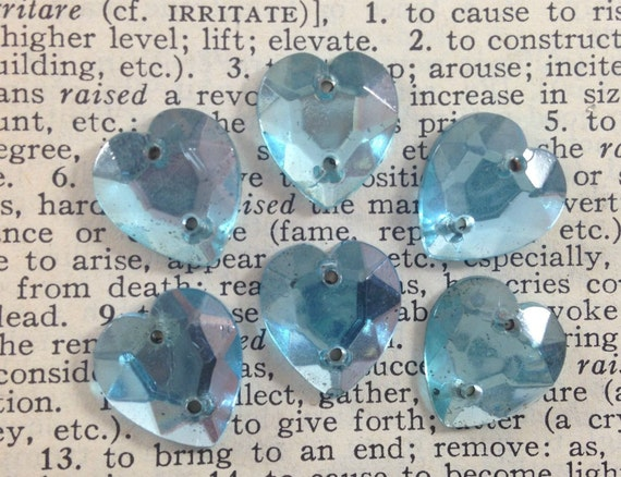 Vintage Glass Heart Sew Ons - Aqua, Light Blue -  Buttons, Cabochons, Beads, Stones, Rhinestones - Foiled, Flat Backs - Qty 6