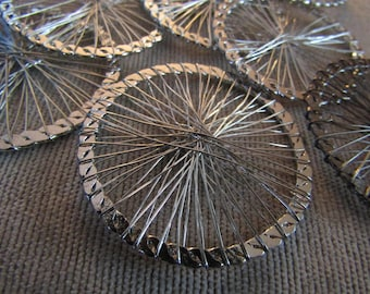 Wire Wheel Pendant Round Wire Wrapped Bead Silver Plated Wire Spokes Focal Piece 40mm Connector Gunmetal