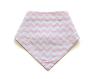 SALE || Adjustable Bandana Bib || Mini Chevron Pale Pink