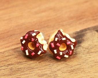 Chocolate Donut Earrings with Color sprinkles  - Donut Ear Studs, Food Earrings, Food Jewelry, Miniature Food, Donuts