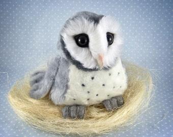 Grey Barn Owl, OOAK handmade art toy